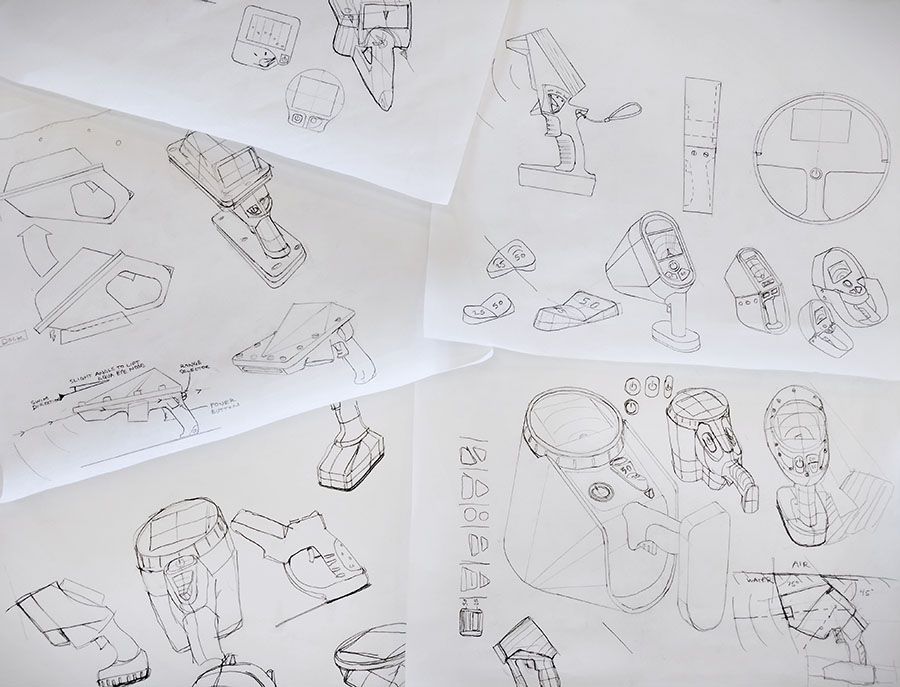 Conceptual sketches during the Ideation stage for VodaSafe