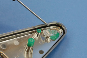 Top plastic part with PCB removed - note the gasket & light pipe