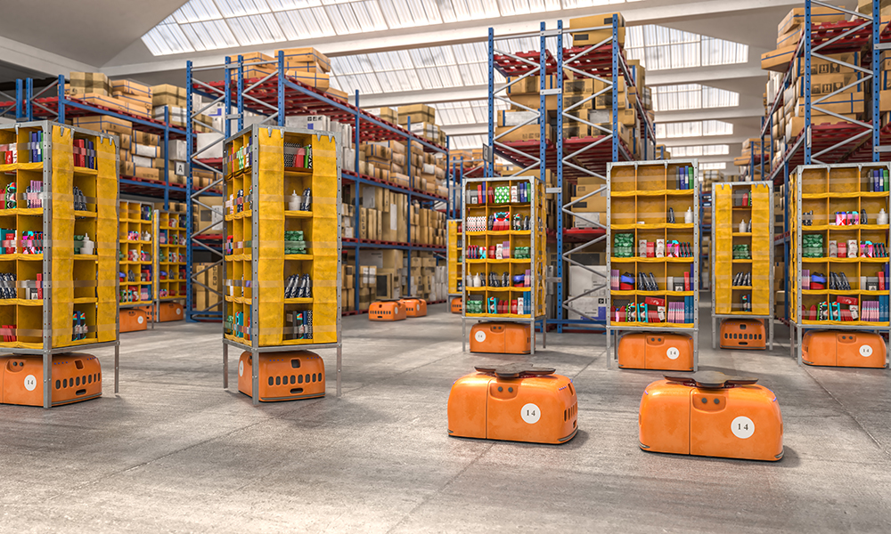 Industrial IoT automation, interior of a warehouse